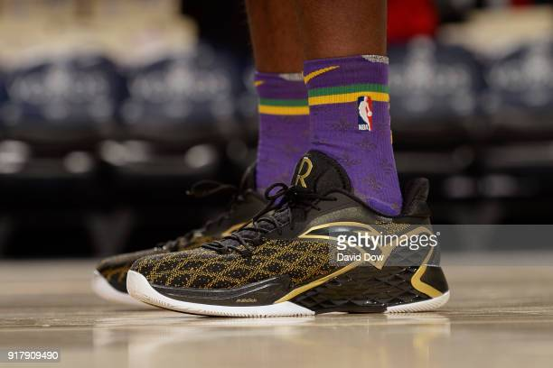 The sneakers of Rajon Rondo of the New Orleans Pelicans during the game against the Philadelphia 76ers at Wells Fargo Center on February 9 2018 in...
