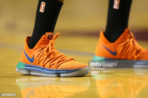 The sneakers of Rebekkah Brunson of the Minnesota Lynx during the game against the Los Angeles Sparks in Game 5 of the 2017 WNBA Finals on October 4...
