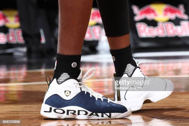 The sneakers of Reggie Bullock of the Detroit Pistons are seen during the game against the Brooklyn Nets on March 21 2017 at Barclays Center in...