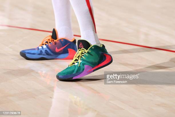 The sneakers of Robin Lopez of the Washington Wizards before the game against the Portland Trail Blazers on February 20, 2021 at the Moda Center...