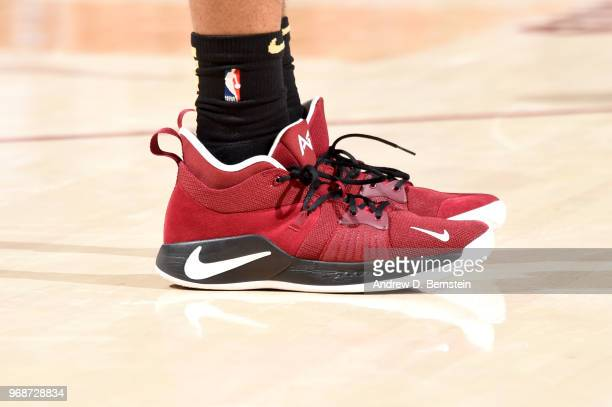 The sneakers of Rodney Hood of the Cleveland Cavaliers are seen during the game against the Golden State Warriors during Game Three of the 2018 NBA...