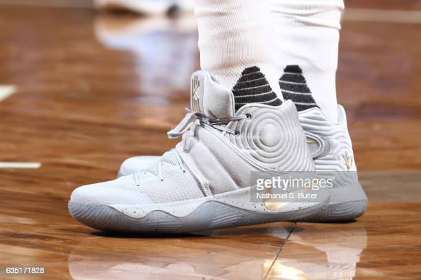 The sneakers of Rondae HollisJefferson of the Brooklyn Nets are seen during the game against the Memphis Grizzlies on February 13 2017 at Barclays...