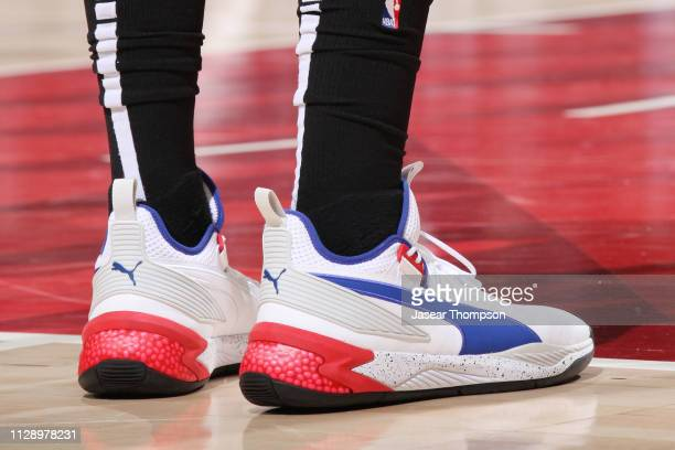 The sneakers of Rudy Gay of the San Antonio Spurs are seen against the Atlanta Hawks on March 6 2019 at State Farm Arena in Atlanta Georgia NOTE TO...