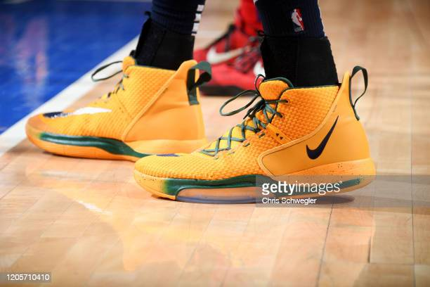 The sneakers of Rudy Gobert of the Utah Jazz during the game against the Detroit Pistons on March 7 2020 at Little Caesars Arena in Detroit Michigan...