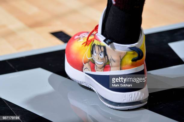 The sneakers of Rudy Gobert of the Utah Jazz during the game against the San Antonio Spurs on March 23 2018 at the ATT Center in San Antonio Texas...