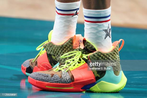 The sneakers of Russell Westbrook of Team Giannis are worn during the 2019 NBA AllStar Game on February 17 2019 at the Spectrum Center in Charlotte...