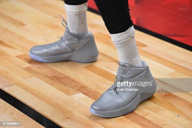 The sneakers of Russell Westbrook of Team LeBron during NBA AllStar Media Day Practice as part of 2018 NBA AllStar Weekend at the Los Angeles...