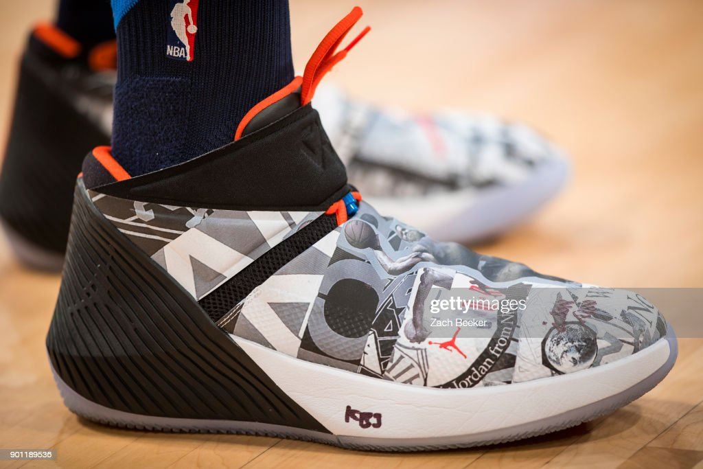 The sneakers of Russell Westbrook #0 of the Oklahoma City Thunder are on display before the game against the Los Angeles Lakers at the Staples Center in Los Angeles, CA on January 3, 2018.
