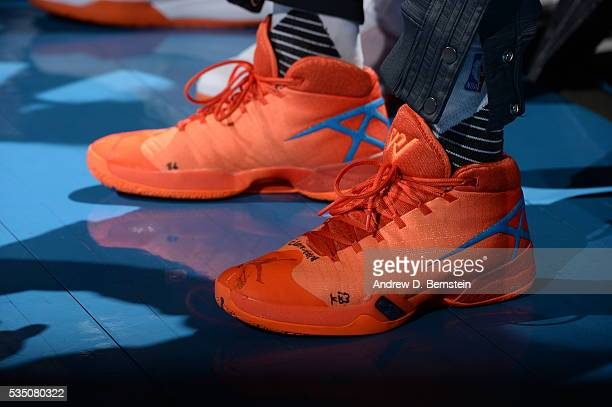 The sneakers of Russell Westbrook of the Oklahoma City Thunder are seen before the game against the Golden State Warriors in Game Six of the Western...
