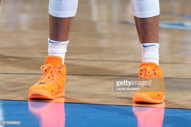 The sneakers of Russell Westbrook of the Oklahoma City Thunder are seen during the game against the Dallas Mavericks on November 12 2017 at...