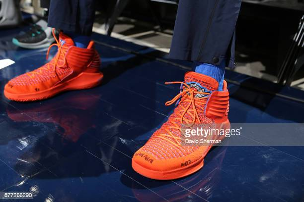 The sneakers of Russell Westbrook of the Oklahoma City Thunder are seen before the game against the Utah Jazz on October 21 2017 at Vivint Smart Home...