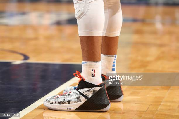The sneakers of Russell Westbrook of the Oklahoma City Thunder are seen during the game against the Charlotte Hornets on January 13 2018 at Spectrum...