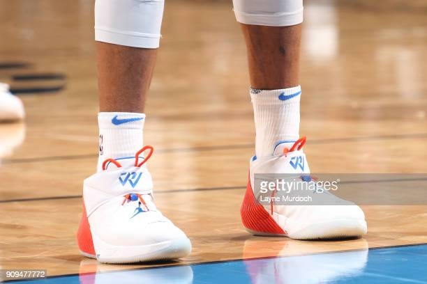 The sneakers of Russell Westbrook of the Oklahoma City Thunder are seen during the game against the Brooklyn Nets on January 23 2018 at Chesapeake...