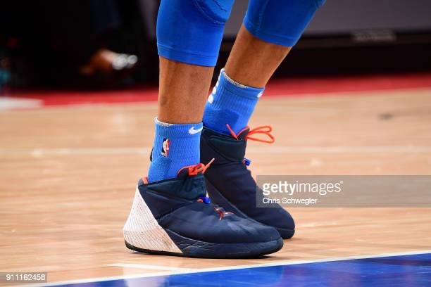 The sneakers of Russell Westbrook of the Oklahoma City Thunder are seen during the game against the Detroit Pistons on January 27 2018 at Little...
