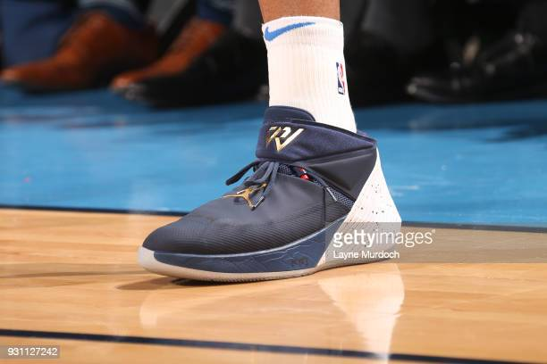 The sneakers of Russell Westbrook of the Oklahoma City Thunder are seen during the game against the Sacramento Kings on March 12 2018 at Chesapeake...