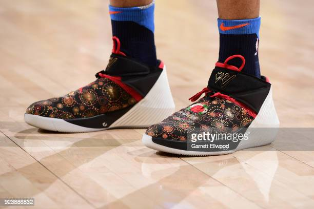 The sneakers of Russell Westbrook of the Oklahoma City Thunder as seen during the game against the Golden State Warriors on February 24 2018 at...