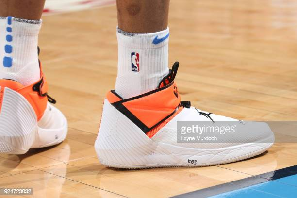 The sneakers of Russell Westbrook of the Oklahoma City Thunder as seen during the game against the Orlando Magic on February 26 2018 at Chesapeake...