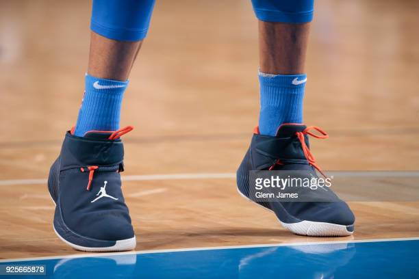 The sneakers of Russell Westbrook of the Oklahoma City Thunder as seen during the game against the Dallas Mavericks on February 28 2018 at the...