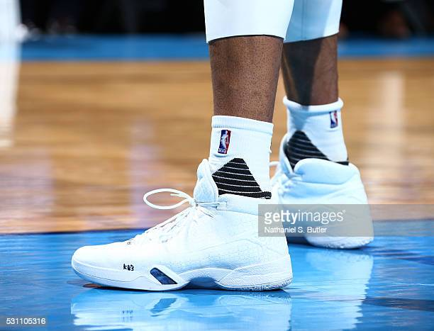 The sneakers of Russell Westbrook of the Oklahoma City Thunder during the game against the San Antonio Spurs in Game Six of the Western Conference...