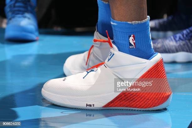 The sneakers of Russell Westbrook of the Oklahoma City Thunder during the game against the Los Angeles Lakers on January 17 2018 at Chesapeake Energy...