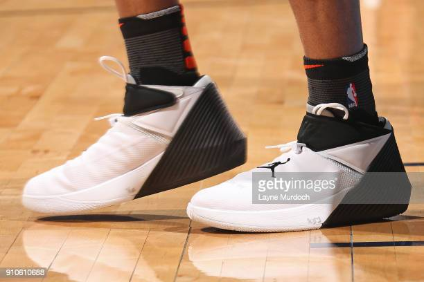 The sneakers of Russell Westbrook of the Oklahoma City Thunder during the game against the Washington Wizards on January 25 2018 at Chesapeake Energy...
