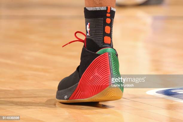 The sneakers of Russell Westbrook of the Oklahoma City Thunder during the game against the Los Angeles Lakers on February 4 2018 at Chesapeake Energy...