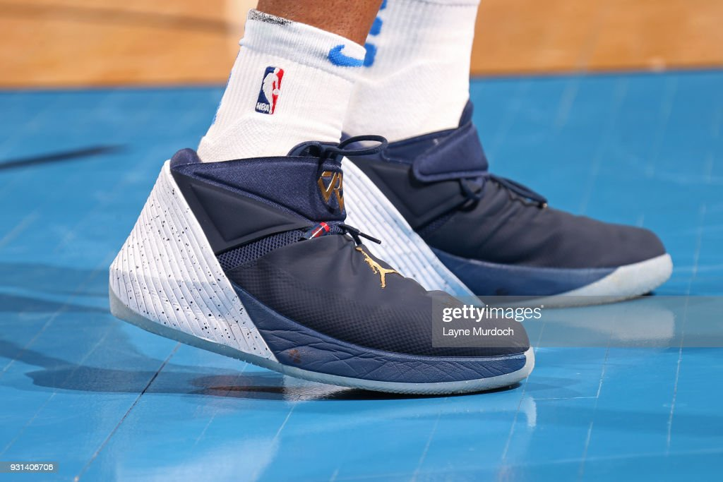 The sneakers of Russell Westbrook #0 of the Oklahoma City Thunder during the game against the Sacramento Kings on March 12, 2018 at Chesapeake Energy Arena in Oklahoma City, Oklahoma.