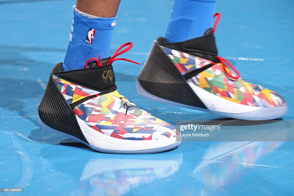The sneakers of Russell Westbrook #0 of the Oklahoma City Thunder during the game against the San Antonio Spurs on March 10, 2018 at Chesapeake Energy Arena in Oklahoma City, Oklahoma.