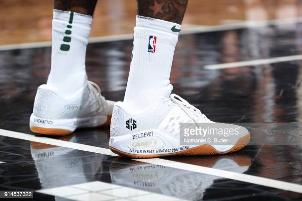 The sneakers of Sean Kilpatrick of the Milwaukee Bucks during the game against the Brooklyn Nets on February 4 2018 at Barclays Center in Brooklyn...