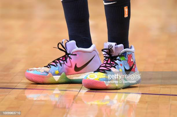 The sneakers of Seimone Augustus of the Minnesota Lynx are seen during the game against the Los Angeles Sparks on August 2 2018 at STAPLES Center in...