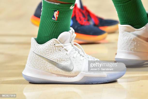 The sneakers of Semi Ojeleye of the Boston Celtics during the game against the Cleveland Cavaliers on October 17 2017 at Quicken Loans Arena in...