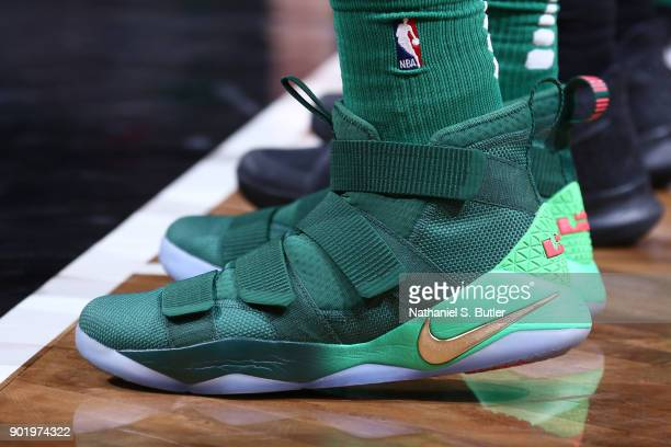 The sneakers of Semi Ojeleye of the Boston Celtics during the game against the Brooklyn Nets on January 6 2018 at Barclays Center in Brooklyn New...