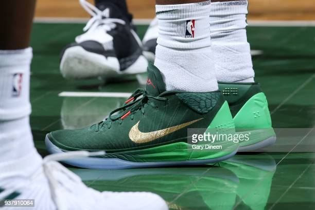 The sneakers of Shabazz Muhammad of the Milwaukee Bucks are seen during the game against the San Antonio Spurs on March 25 2018 at the BMO Harris...