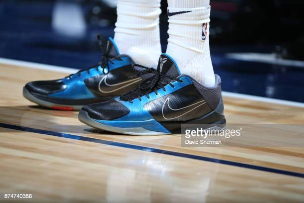 The sneakers of Shabazz Muhammad of the Minnesota Timberwolves are seen during the game against the San Antonio Spurs on November 15 2017 at Target...