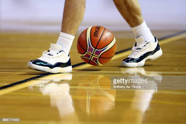 The sneakers of Shea Ili of New Zealand are seen during warm up prior to the FIBA World Cup Qualifying match between the New Zealand Tall Blacks and...