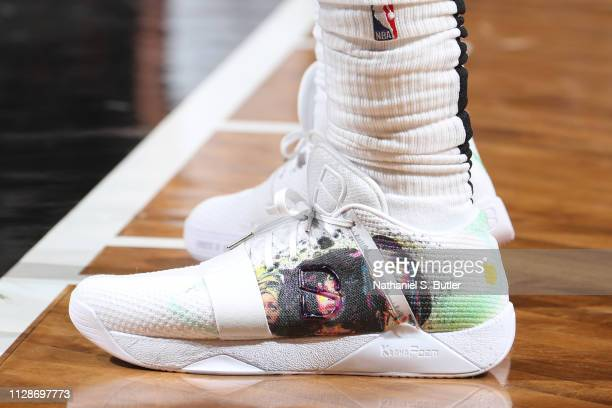 The sneakers of Spencer Dinwiddie of the Brooklyn Nets are seen against the Dallas Mavericks on March 4 2019 at Barclays Center in Brooklyn New York...