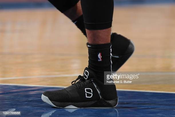 The sneakers of Spencer Dinwiddie of the Brooklyn Nets during the preseason game against the New York Knicks on October 12 2018 at Madison Square...