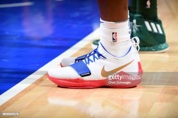The sneakers of Stanley Johnson of the Detroit Pistons are seen during the game against the Milwaukee Bucks on November 3 2017 at Little Caesars...
