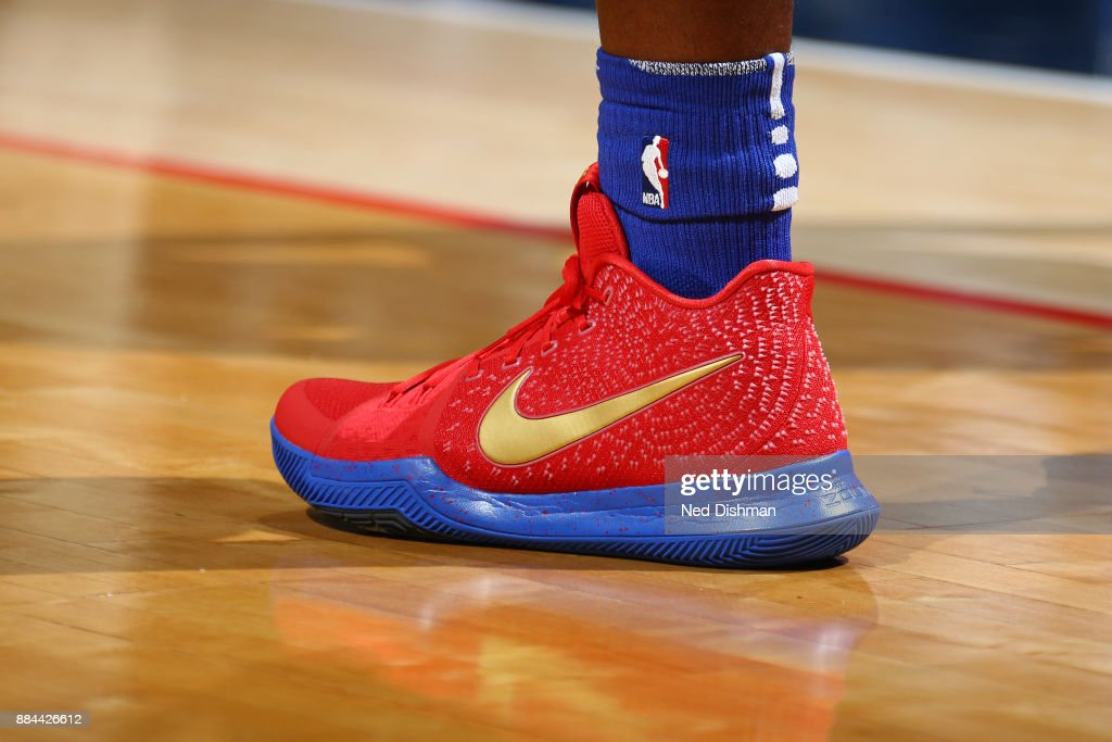 The sneakers of Stanley Johnson #7 of the Detroit Pistons during the game against the Washington Wizards on December 1, 2017 at Capital One Arena in Washington, DC.