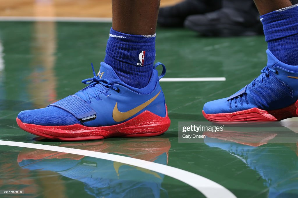 The sneakers of Stanley Johnson #7 of the Detroit Pistons during the game against the Milwaukee Bucks on December 6, 2017 at the BMO Harris Bradley Center in Milwaukee, Wisconsin.