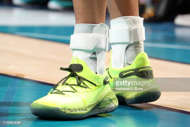 The sneakers of Stephen Curry of Team Giannis are worn during the 2019 NBA AllStar Game on February 17 2019 at the Spectrum Center in Charlotte North...