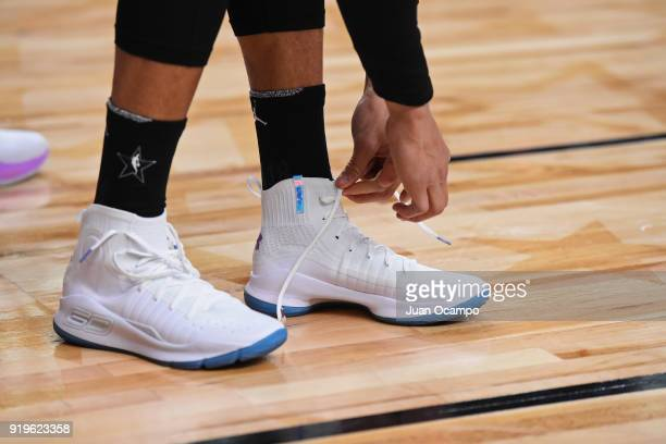The sneakers of Stephen Curry of Team Stephen during NBA AllStar Media Day Practice as part of 2018 NBA AllStar Weekend at the Los Angeles Convention...