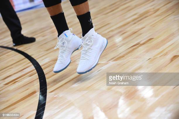 The sneakers of Stephen Curry of team Stephen during the 2018 NBA All Star Practice as part of 2018 AllStar Weekend at Verizon Up Arena at LACC on...