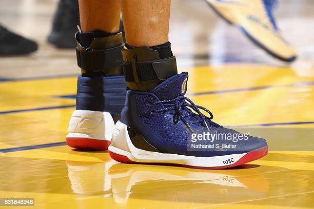 The sneakers of Stephen Curry of the Golden State Warriors are seen during the game against the Cleveland Cavaliers on January 16 2017 at ORACLE...