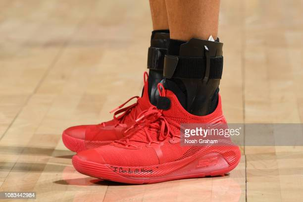 The sneakers of Stephen Curry of the Golden State Warriors are worn during a game against the New Orleans Pelicans on January 16 2019 at ORACLE Arena...