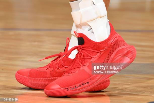 The sneakers of Stephen Curry of the Golden State Warriors are worn during a game against the LA Clippers on January 18 2019 at STAPLES Center in Los...