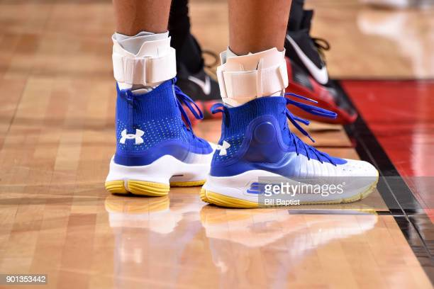 The sneakers of Stephen Curry of the Golden State Warriors during the game against the Houston Rockets on January 4 2018 at the Toyota Center in...