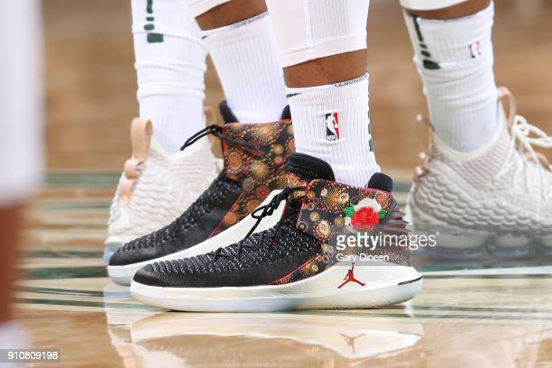 The sneakers of Sterling Brown of the Milwaukee Bucks are seen during the game against the Brooklyn Nets on January 26 2018 at the BMO Harris Bradley...