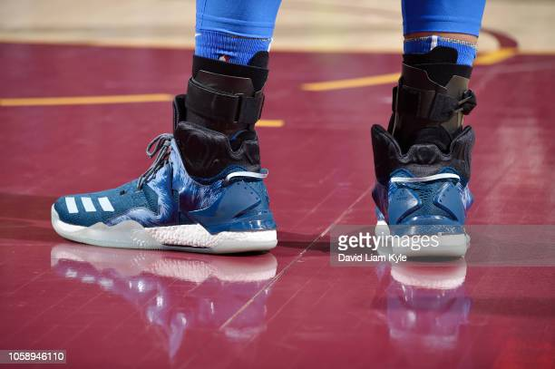 the sneakers of Steven Adams of the Oklahoma City Thunder are seen against the Cleveland Cavaliers on November 7 2018 at Quicken Loans Arena in...