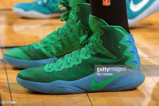 The sneakers of Sylvia Fowles of the Minnesota Lynx are seen during the game against the Indiana Fever on August 6 2017 at Bankers Life Fieldhouse in...